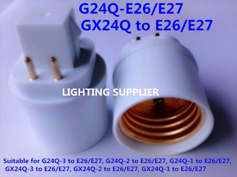 200pcs GX24 to E27 E26 Lamp Holder Base Bulb Socket Adapter Fireproof Material LED Light Adapter Converter Wholesale