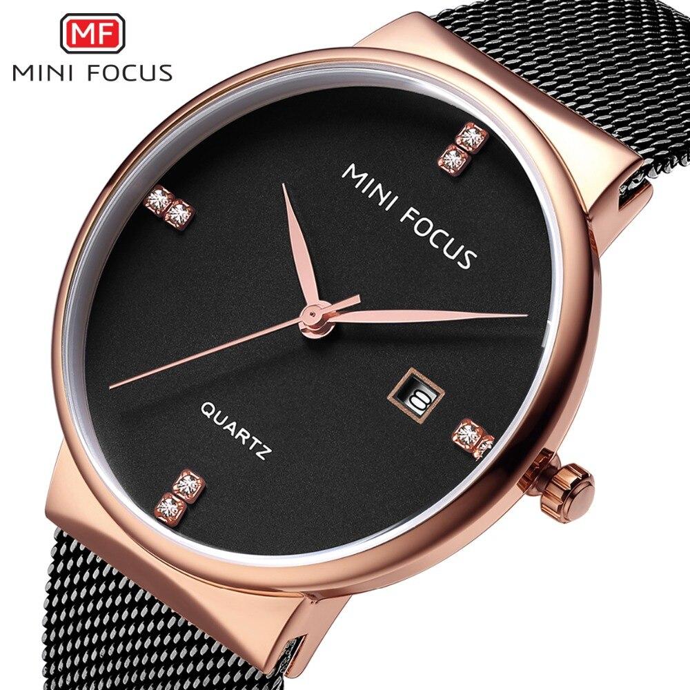 Reloj de hombre de la mejor marca MINIFOCUS, bandas de acero inoxidable, reloj de negocios resistente al agua, reloj de hombre con calendario, relojes de regalo