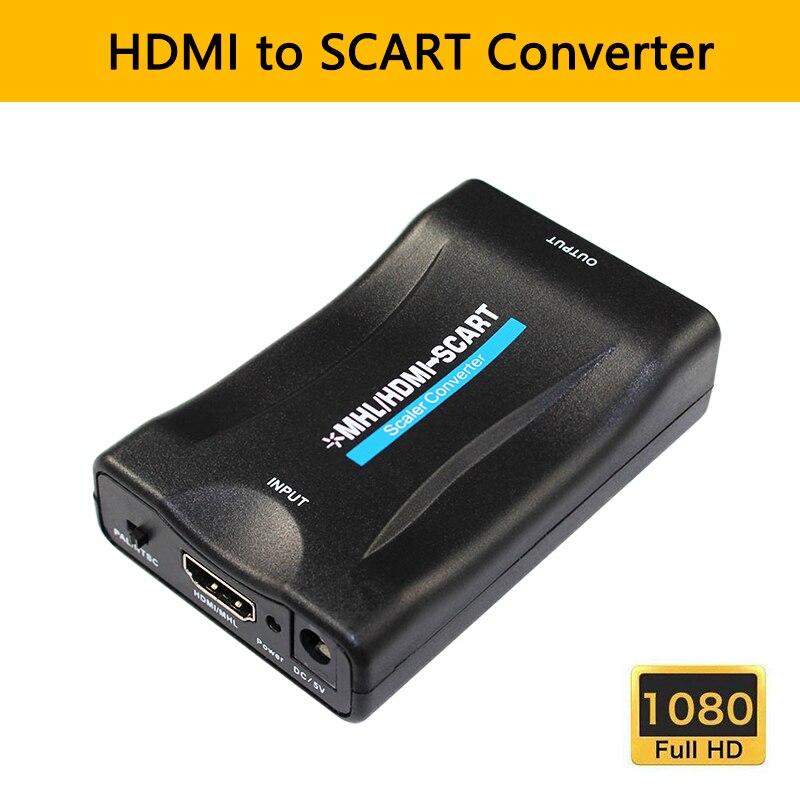 Convertidor de HDMI a SCART, adaptador de entrada SCART de salida, Vídeo...