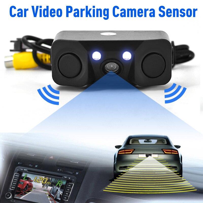 170 grados 3 en 1 sensor de aparcamiento con vídeo cámara de visión trasera de marcha atrás de coche con 2 sensores de Detector de Radar BiBi indicador de alarma