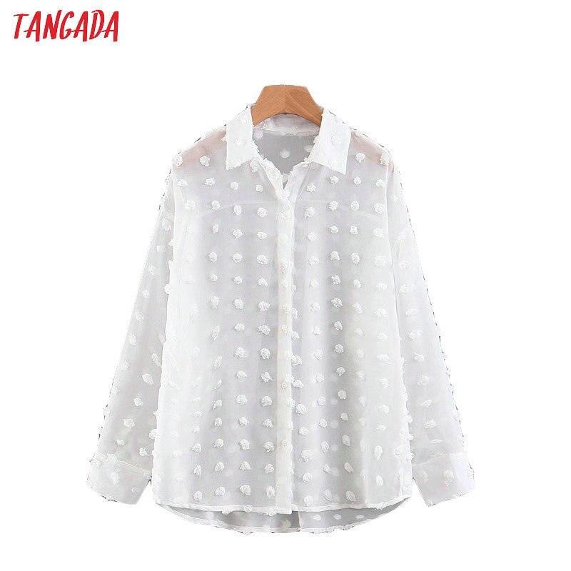 Blusa Tangada de gasa blanca elegante para mujer, Blusa de manga larga con cuello vuelto para mujer, camisas de gran tamaño con estilo para oficina, tops SL372