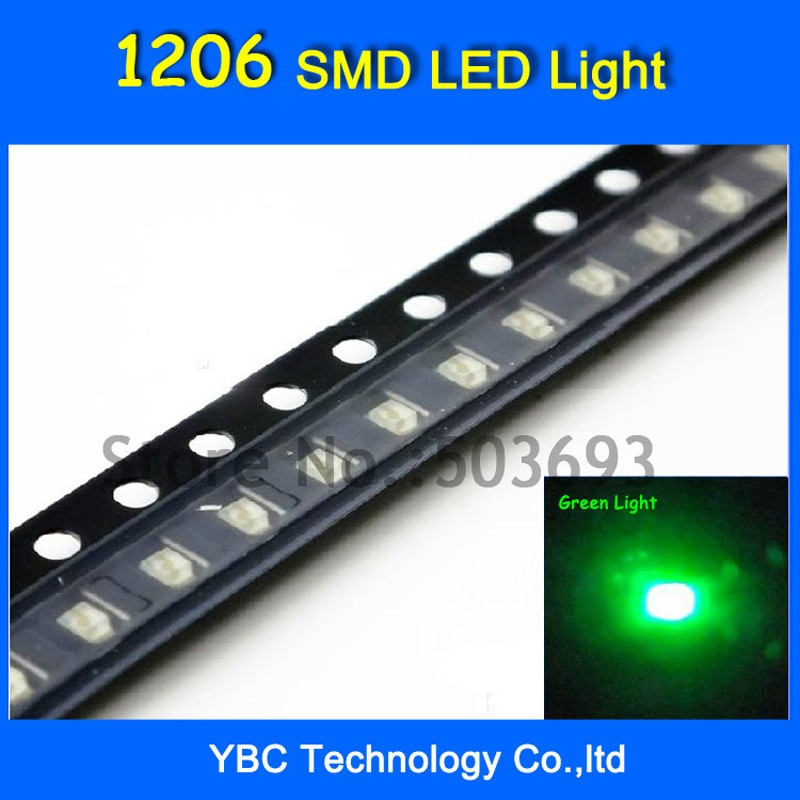 1000 قطعة/الوحدة اليشم الأخضر ضوء 1206 SMD LED فائقة مشرق الصمام الثنائي