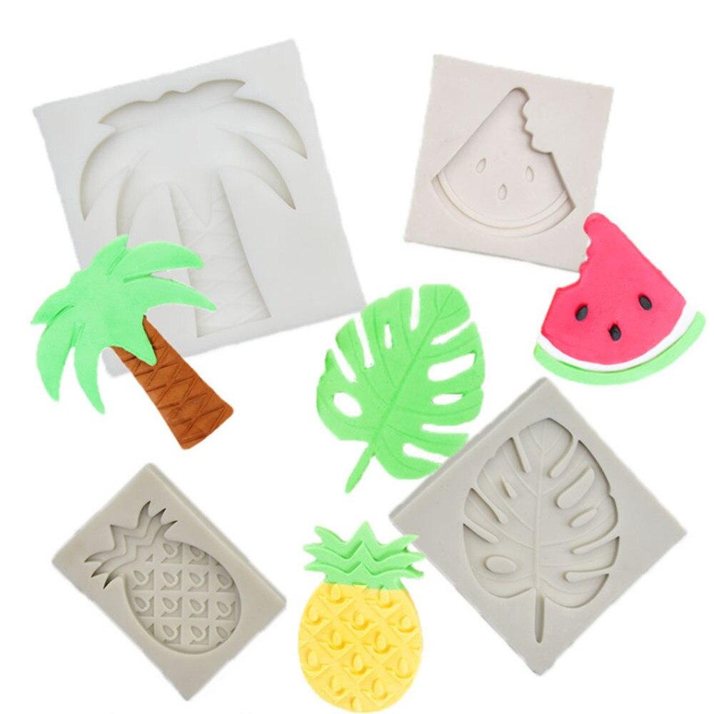 3D árbol hoja moldes Sugarcraft Leavf molde de silicona del árbol de Coco utensilios para decoración de tortas con fondant hojas molde para pasta de goma y chocolate