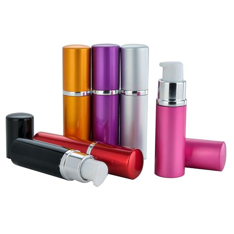 Novo estilo 10 ml mini portátil de alumínio recarregável shampoo garrafa com bomba vidro vazio caso creme cosméticos para travler