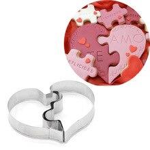 Moule à biscuits 3D en acier inoxydable   Ensemble de 2 pièces, Puzzle damour en forme de cœur, outils de décoration de gâteau de mariage, bricolage, moules de cuisson à biscuits