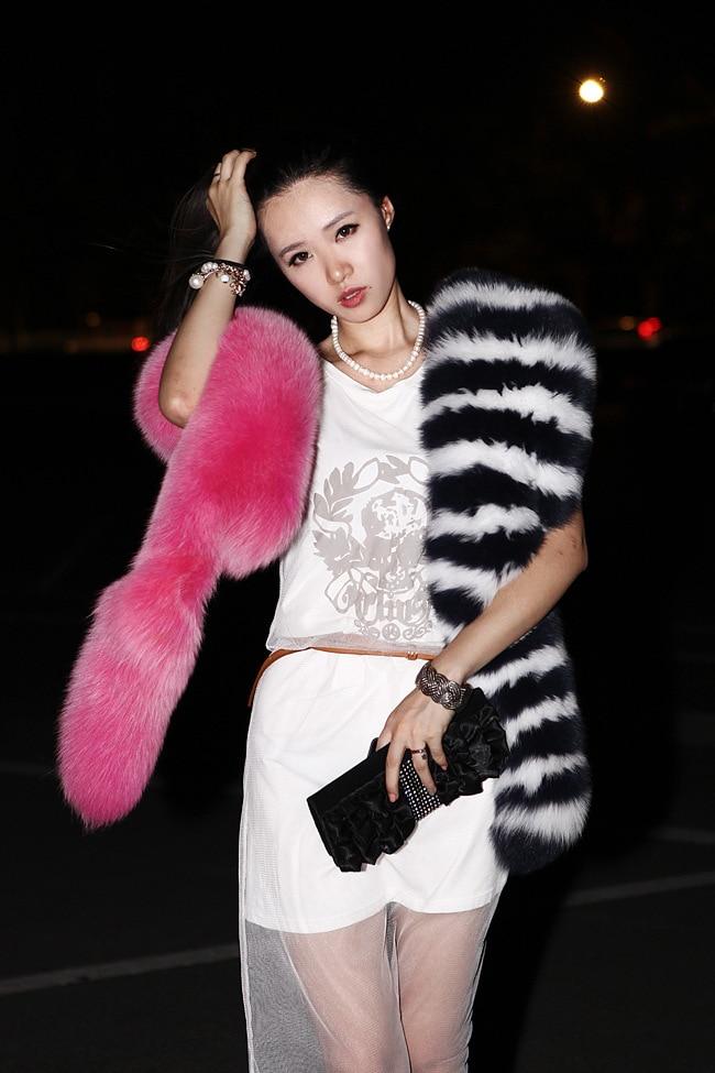 Bufandas de piel de zorro de moda de lujo pasarela 200cm de largo Faux Fur Stole Collar tira de Patchwork Pashmina bufanda J53