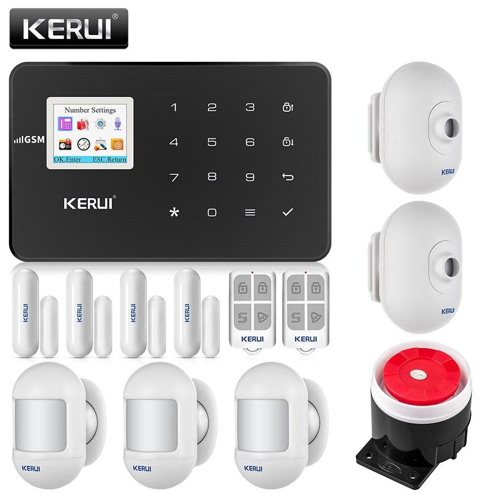 Kerui g18 sem fio gsm sistema de alarme segurança em casa alarme do assaltante kit android ios controle telefone com detector movimento ao ar livre
