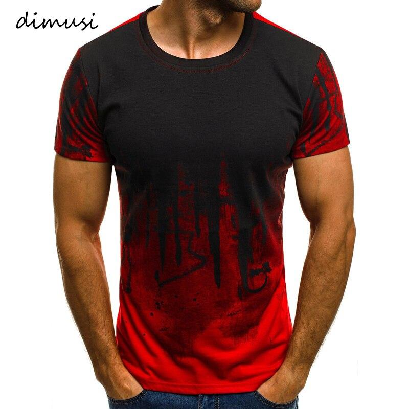 DIMUSI Summer Men T-shirts Fashion O-Neck Slim Fit Short Sleeve Hip Hop T Shirt Men Trend Casual T-Shirt Tops Tees 3XL,YA828