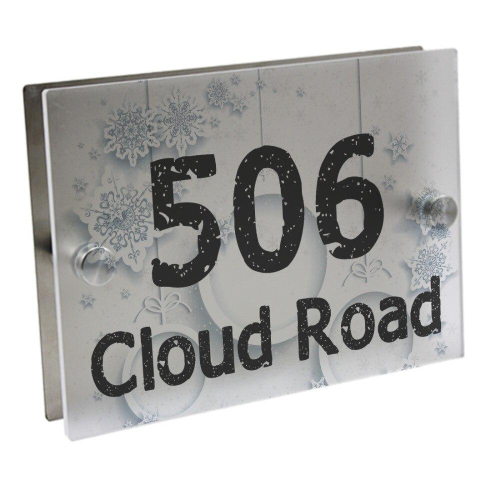 Placa de puerta copo de nieve cartel para número de puerta placa calle acrílico mate cristal de la Casa de la dirección placas al aire libre signos