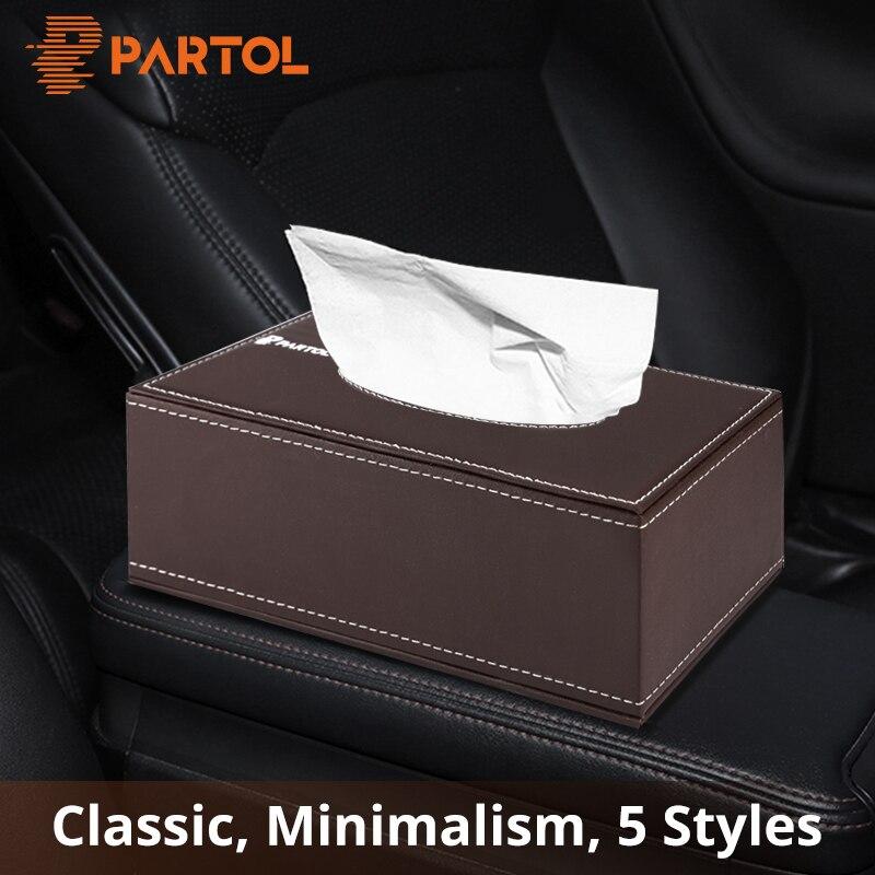 Patrol PU cuero caja de pañuelos coche hogar Baño Auto Tissue Box contenedor toalla servilleta de papel titular parasol Coche 5 Estilo