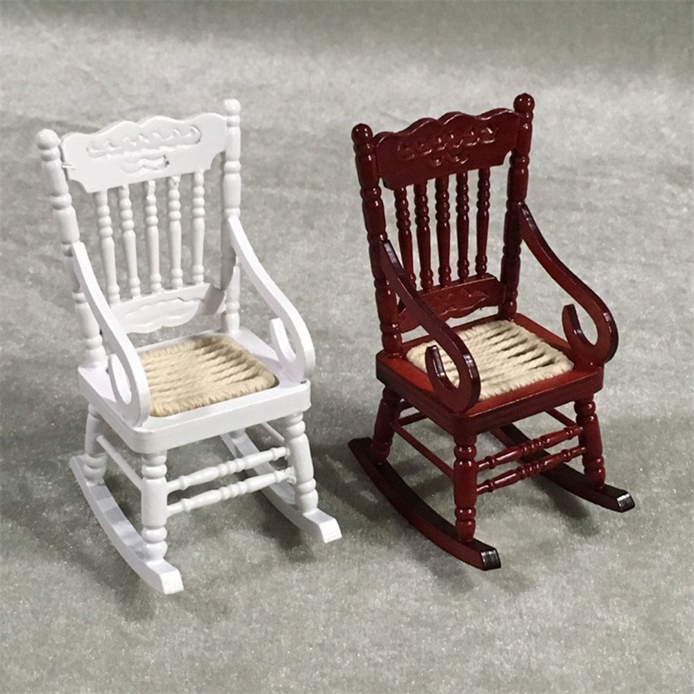 1/12 Dollhouse Miniature Accessories Mini Wooden Rocking Chair Simulation Furniture  Toys for Doll House Decoration недорого