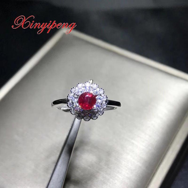 Xin yi peng 925 prata incrustada natural rubi anel, anel mulher, moda elegante, presente de aniversário do feriado