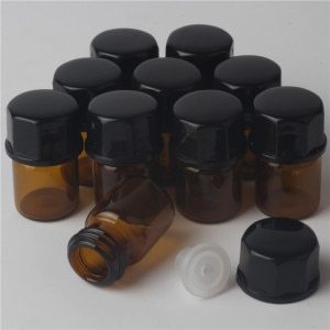 1ml x 10 MINI amber ( brown ) oil glass bottles with cap ,1cc glass perfume bottle china ,refillable empty perfume bottle
