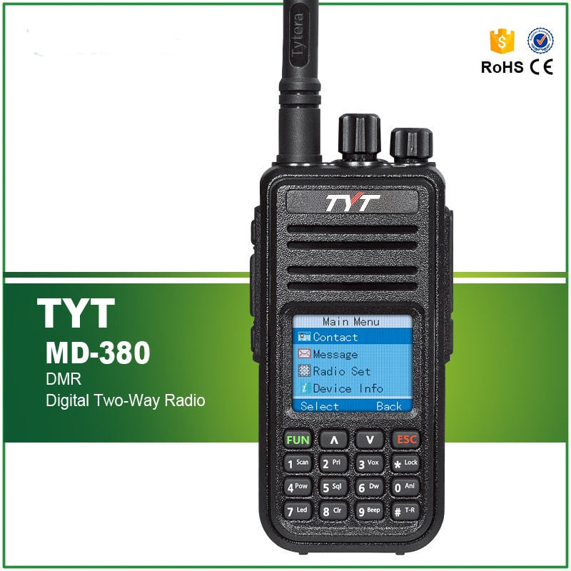 Newest DMR Transceiver TYT MD-380 UHF Radio 1000 CHS 5W RF Power with Programming Cable and Software