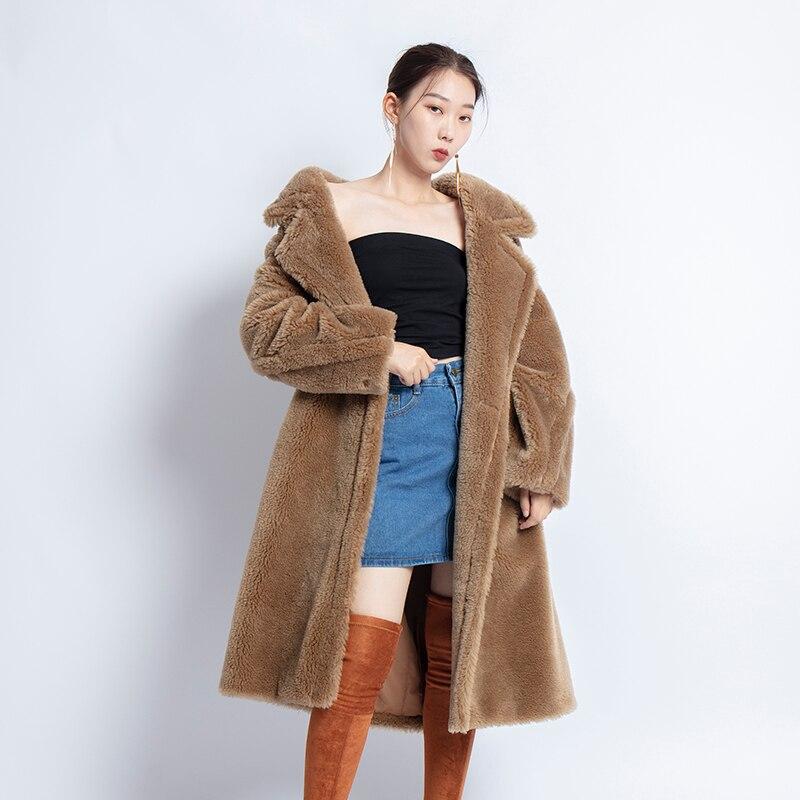 جديد 2021 معطف فرو الغنم الحقيقي معطف طويل نمط الجمل دمية دب أيقونة معطف المتضخم سترة سميكة دافئة ملابس خارجية معطف الشتاء النساء