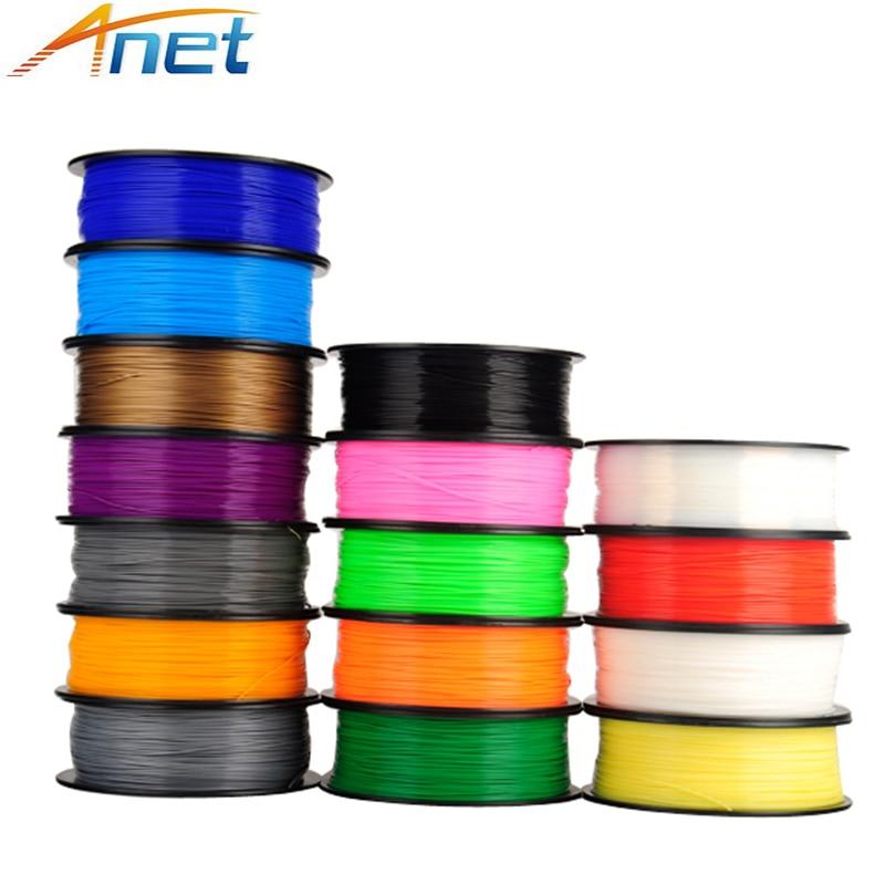 5 rouleau/lot 1kg/rouleau Anet 1.75mm PLA Filament 3D imprimante Filament plastique caoutchouc consommables matériel 4 couleurs Option
