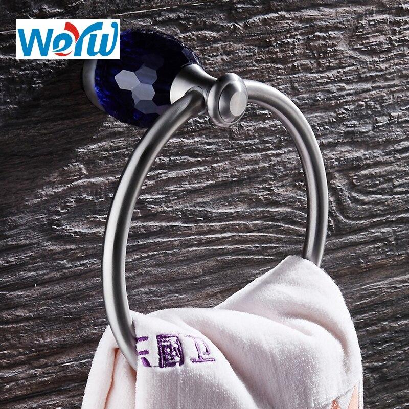 WEYUU okrągły wieszak na ręcznik na ścianie luksusowy niebieski kryształ ręcznik wspornik na dach akcesoria łazienkowe ze stali nierdzewnej rysunek drutu