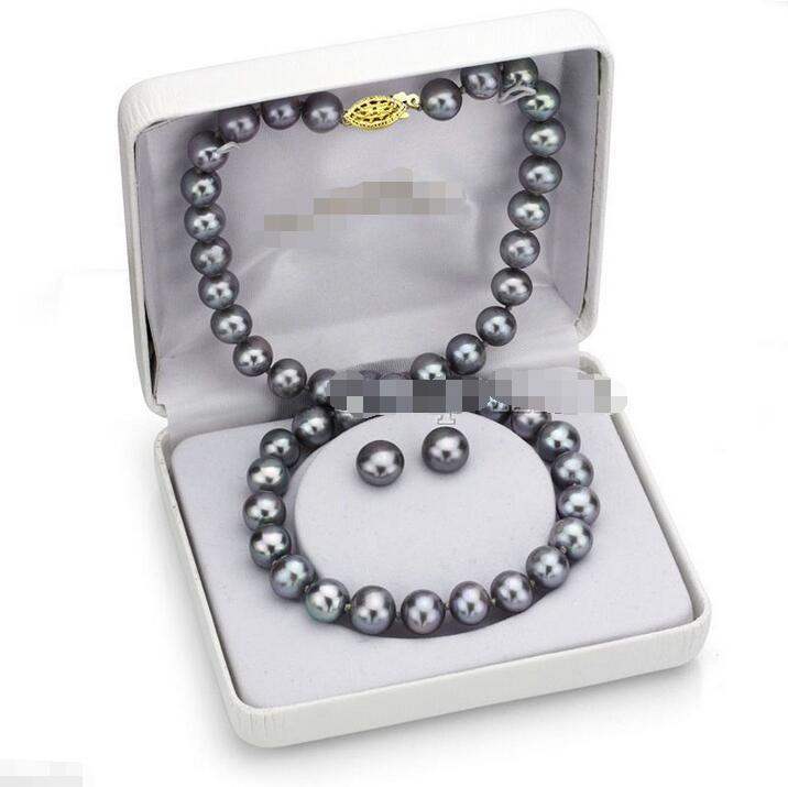 """Бесплатная доставка оптовая цена + красивая мода 12 мм натуральный серый жемчуг и серьги-гвоздики ожерелье 18 """"набор $ 30%"""