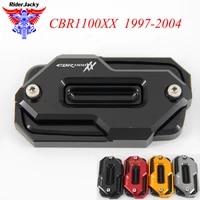 combinational design front brake master cylinder fluid reservoir cover for honda cbr1100 xx cbr1100xx 1997 2004 2003 2002 2001