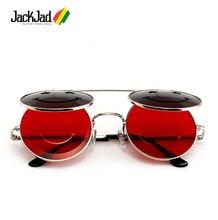 JackJad 2018 Fashion Metal Round SteamPunk Style Sunglasses Smile Face Vintage Clamshell Flip Up Sun Glasses Oculos De Sol 27050