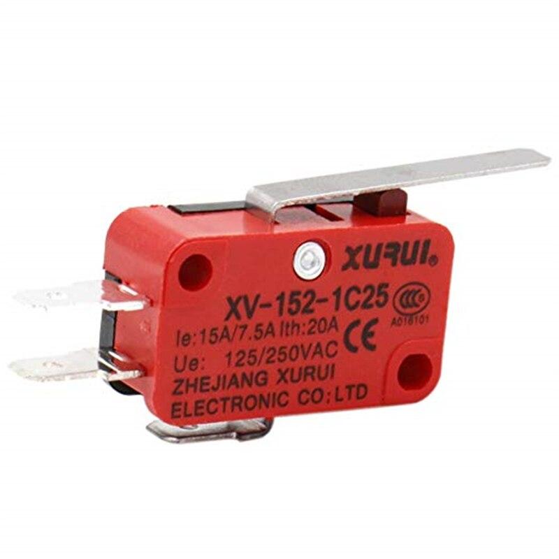 10 Uds V-152-1C25 Micro interruptor de palanca de rodillo de bisagra larga carrera interruptores de límite de