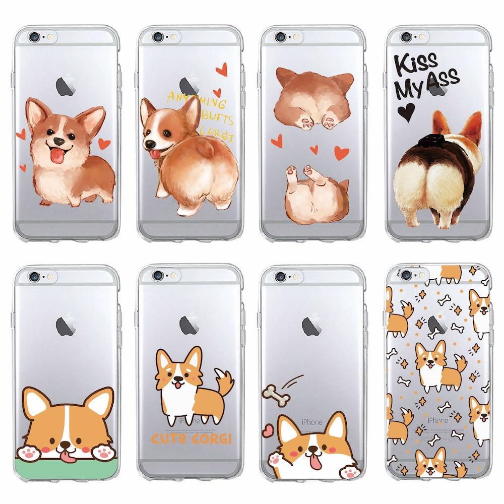 Cute corgi butt animal filhote de cachorro macio claro caixa do telefone fundas coque capa para iphone 11 pro max 7 plus 6 s 8 plus x xs max