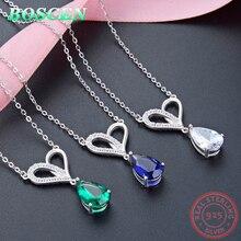 BOSCEN Zircon 925 Sterling Silver Pendant Necklace For Women Girl Birthday Gift 2019 Blue Green Gem Simple Water droplets Tears