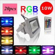 20 unids/lote 10 W RGB AC85-265V impermeable LED proyector de luz de inundación LED Luz de lavado lámpara de búsqueda al aire libre