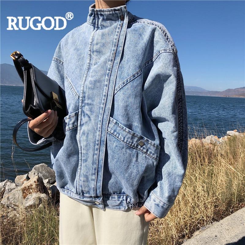 RUGOD 女性 soid ブルージーンズジャケットヴィンテージ立襟バットウィングスリーブカジュアルデニムジャケット新ファッション mujer ファムトップ