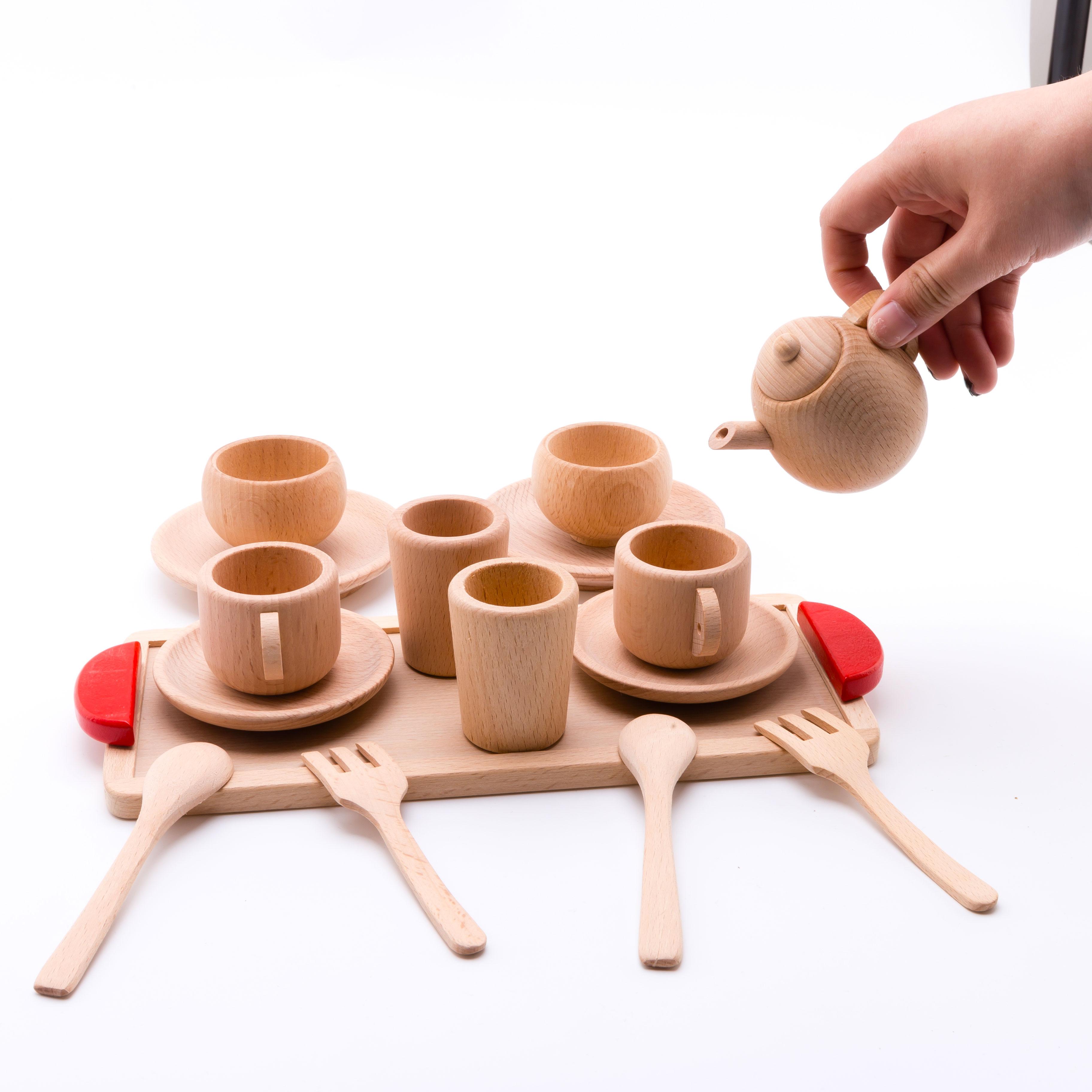 Juguete de madera para bebé, juguetes de cocina, juego de simulación, cortar frutas, verduras, Mini taza de café o té de haya sólida, juego de Educación Temprana, juguetes de comida