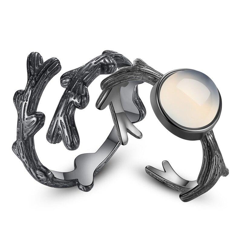 100% Стерлинговое Серебро 925 пробы, Модный Ретро стиль, драгоценный камень, цветок влюбленных, кольца для пар, ювелирные изделия, Черное женско...