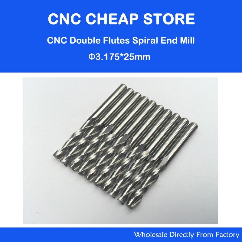 "Gratis Schip 10 stks 1/8 ""Vhm 3.175mm Frees Dubbele Twee Fluit Spiral Bit CNC Frezen CED 3.175mm CEL 25mm"