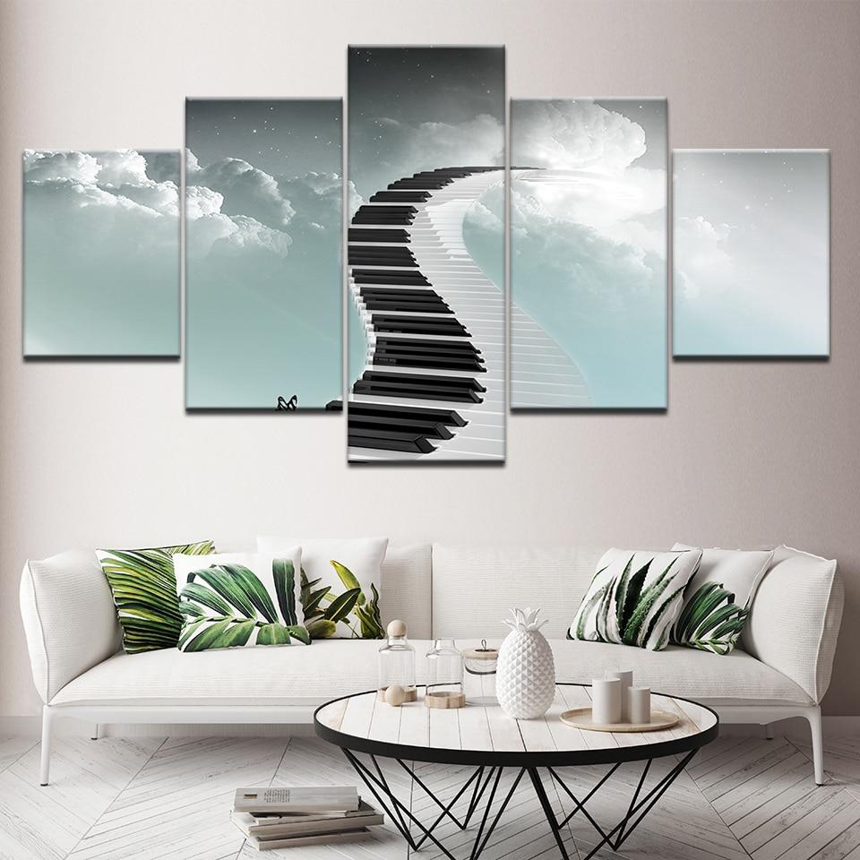 Lienzo pintura Piano teclado paso a paso 5 piezas pared arte pintura fondos modulares póster impresión sala de estar decoración del hogar