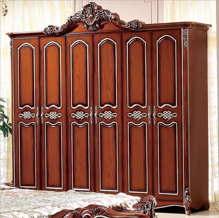 Armario de seis puertas, armario antiguo europeo completo, armario Rural francés p10238