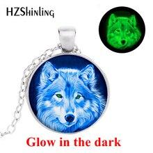 Nova chegada brilhante azul lobo colar azul lobo pingente lealdade jóias brilhante colar de vidro cabochon cúpula pingente