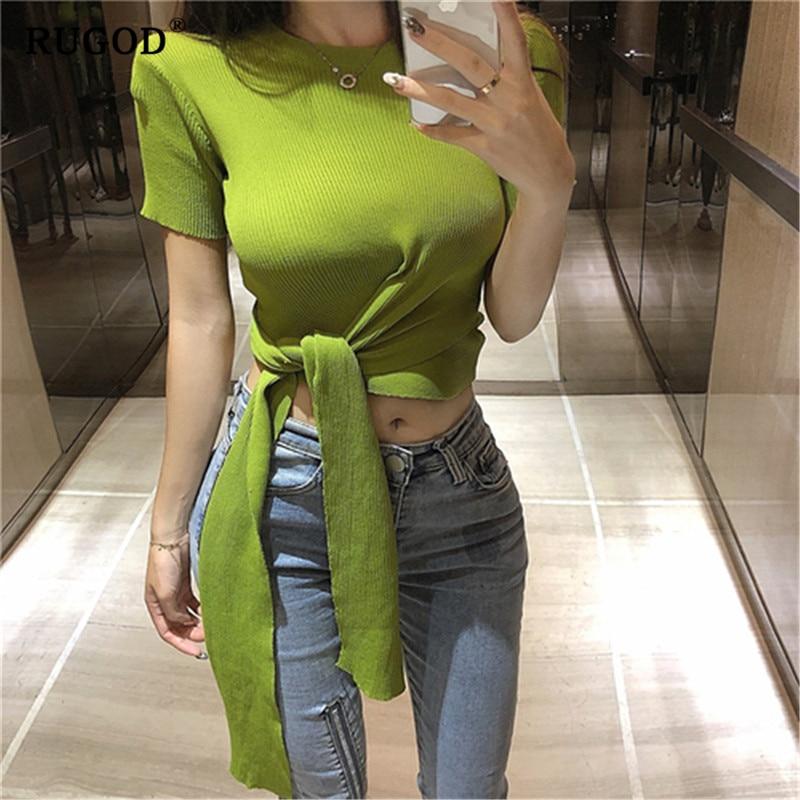 RUGOD été croix sangle tricot col rond femmes t-shirt mode mince blusas femininas de verão 2019 version coréenne poleras mujer