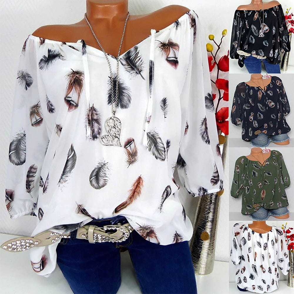 3XL 4XL 5XLNewly 2018 Women Plus Size Half Sleeve Feather Print V-neck Shirt Pullover Tops Shirt