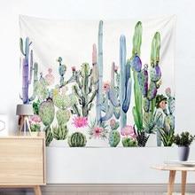 Tapisserie murale décorative pour maison   Motif Cactus, tenture murale suspendue de Mandala, moquette verte succulente, tapis de Yoga, tapisserie décorative pour maison