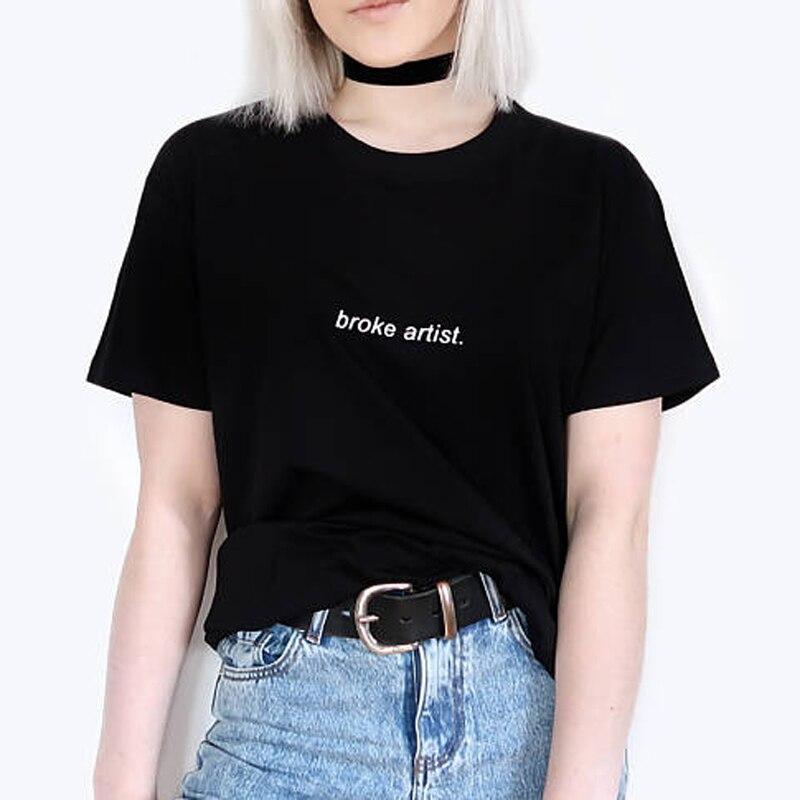 Vrouwen Tops Brak Kunstenaar Pocket Brief Gedrukte T-shirt Vrouwelijke Katoen Korte Mouw Hipster T-shirt Voor Meisje Harajuku Tumblr Vrouwelijke