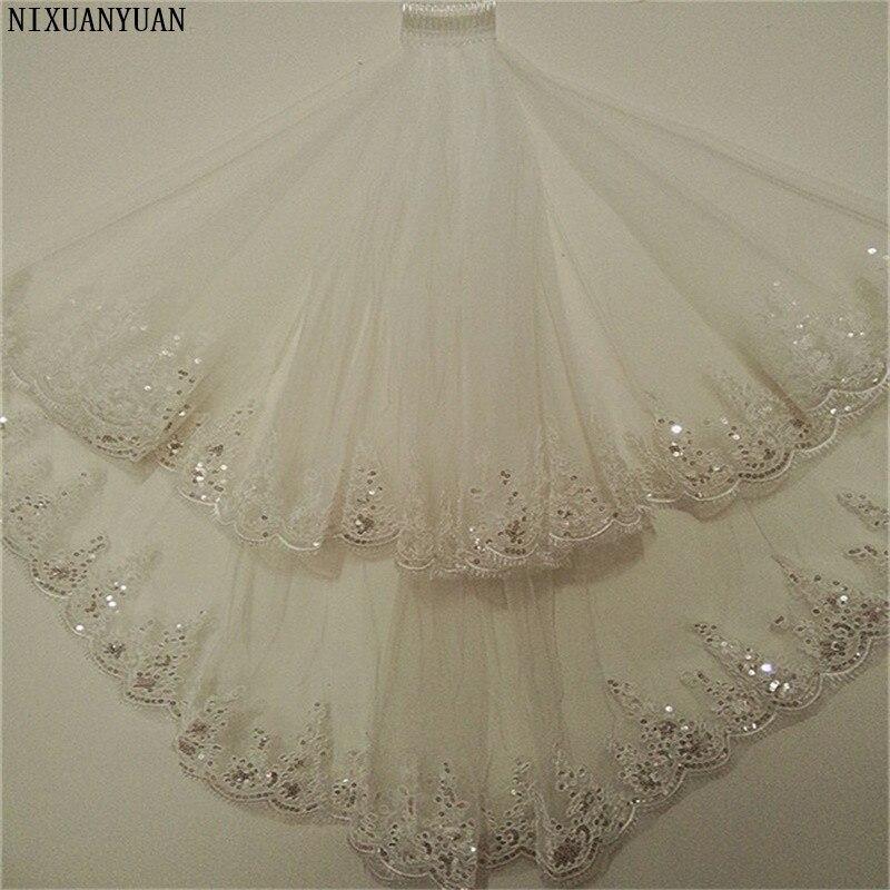Nuevos velos de Boda de Princesa con apliques cortos blancos/Marfil accesorios románticos para bodas elegantes velos de novia de 2 capas con peine