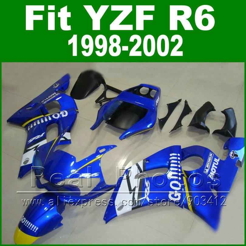7 هدايا قطع من البلاستيك لياماها R6 هدية 1998 1999 2000 2001 2002 الأزرق و ماتي الأسود صالح YZF R6 fairings 1998-2002
