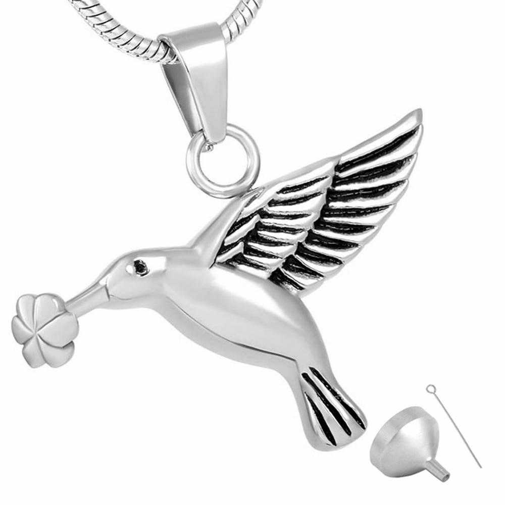 Joya conmemorativa MJD8283, joyería de cremación Animal para cenizas de mascotas, pájaro pequeño que lleva en una flor