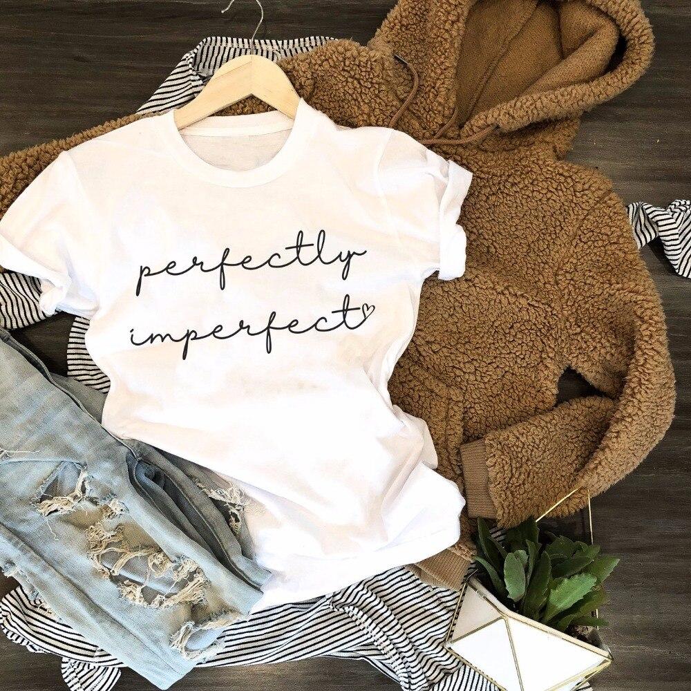 Camiseta perfectamente imperfecta con eslogan de moda para mujer, camiseta gótica con eslogan grunge estético tumblr de algodón informal Hipster cristiana Instagram