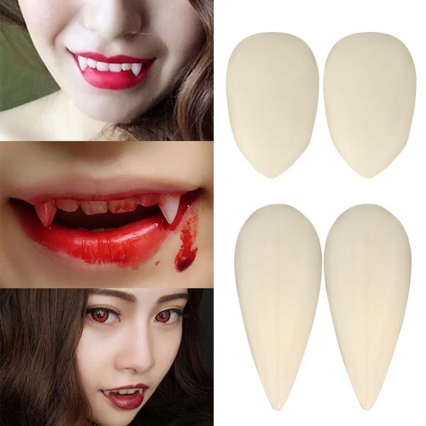 1 par de disfraces de Cosplay de duende de Manga de Anime de dentadura falsa, disfraz de fiesta de Halloween, accesorios de vampiro, maquillaje de imitación, decoración de miedo vj-dr