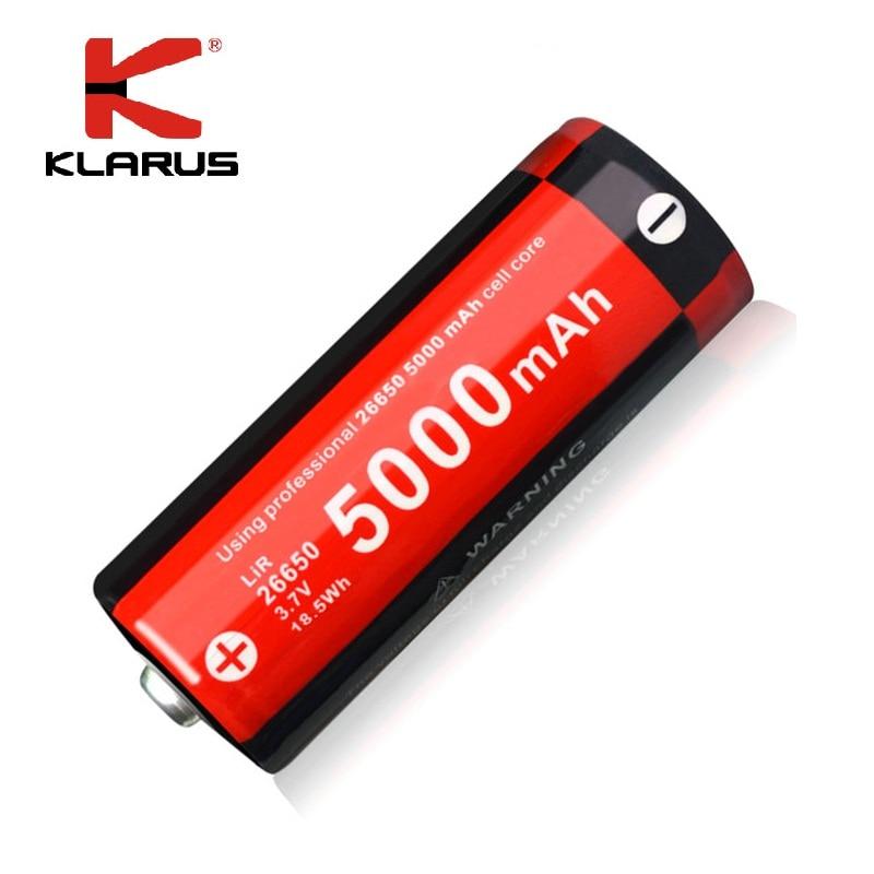 KLARUS Rechargeable Li-ion 3.7V 5000mAh 26650 Battery for LED Flashlight ,Multiple Protection