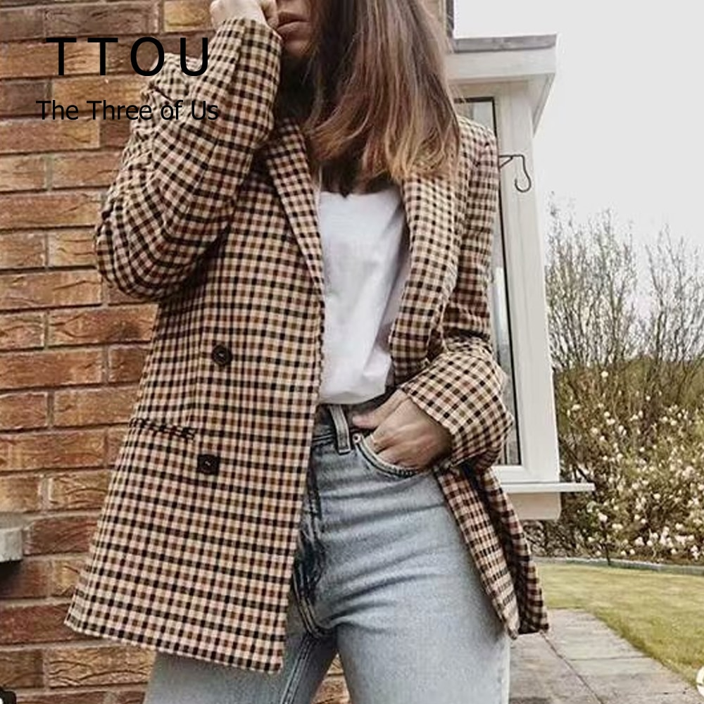 TTOU moda doble botonadura plaid blazer mujeres ajustados de manga larga talla grande blazer 2019 Casual otoño primavera chaqueta blazer Mujer