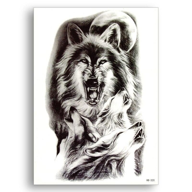 Lobo bestia tatuajes falsos transferencia de agua pegatinas temporales impermeables mujeres hombres sexy belleza arte fresco cosas barato maquillaje fino