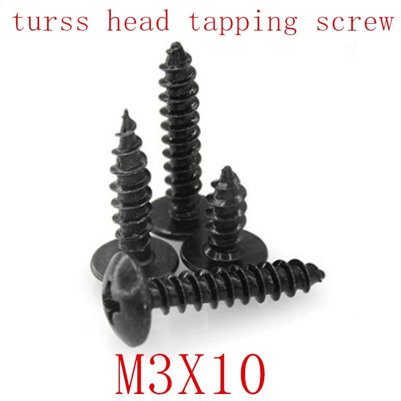 1000PCS M3*10  M3x8 steel with black phillips truss head tapping screw
