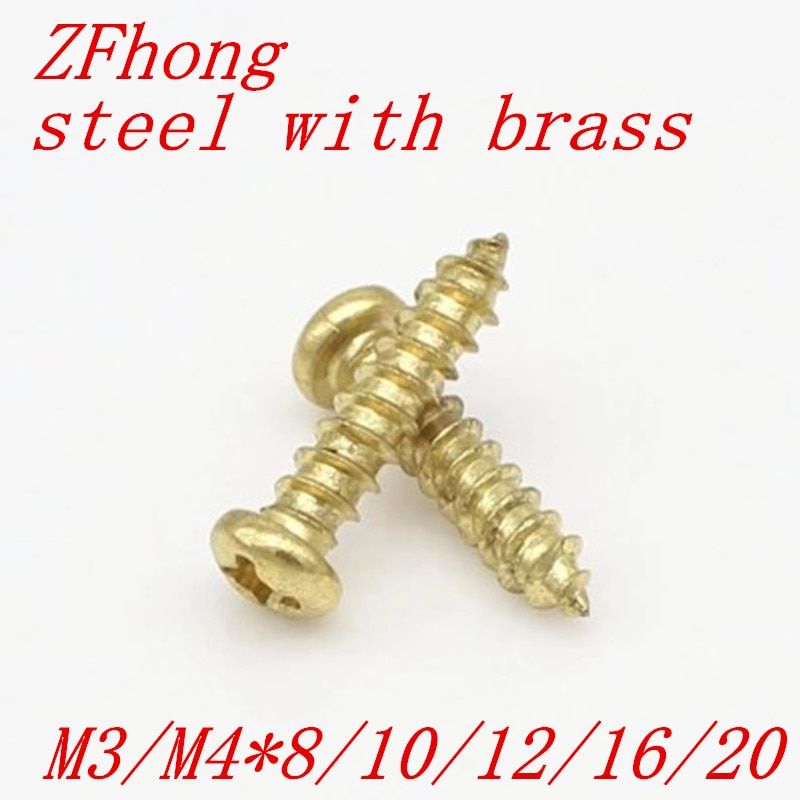 100 unids/lote de acero M3 M4 con tornillo de rosca de cabeza phillips de latón