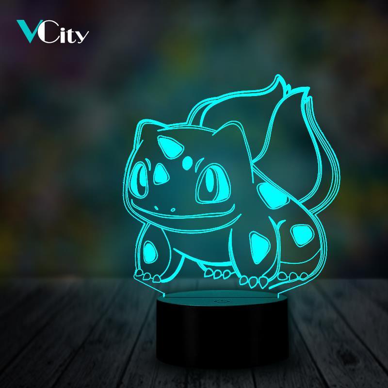 Luz Led 3D de noche VCity, lámpara de mesa, Luminaria dibujos de Japón, Manga de Anime, Bulbasaur, ambiente LED, USB, RGB, iluminación de Ambiente, juguete para niños